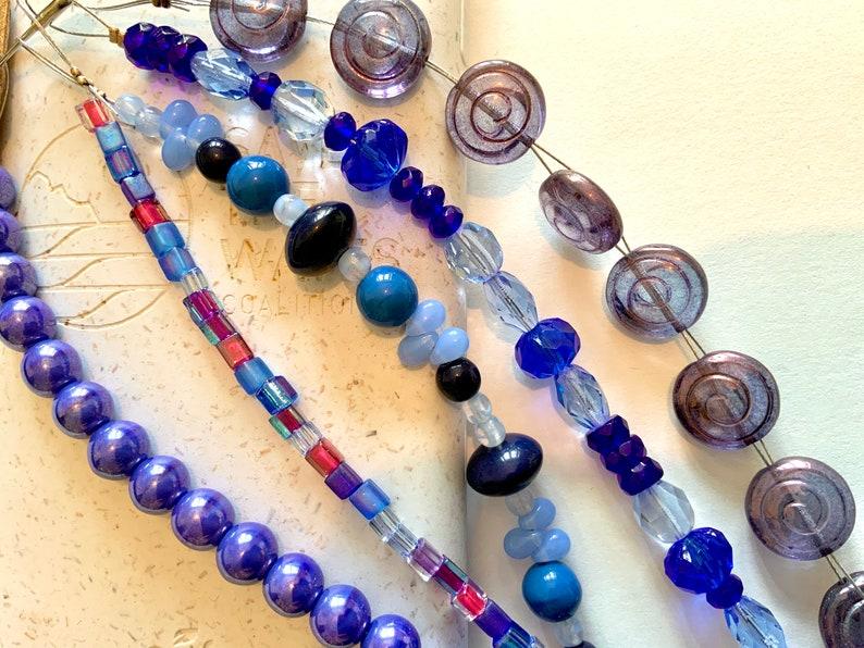 BLUEBERRY PIE RRP15.95GBP 5 strands Czech pressed fire polished Miyuki cubes glass beads cinnamon rolls