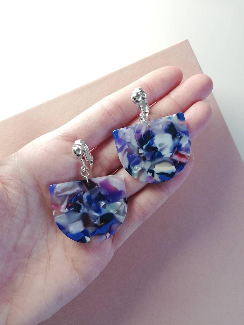 Blue tortoishell acetate clip on earrings