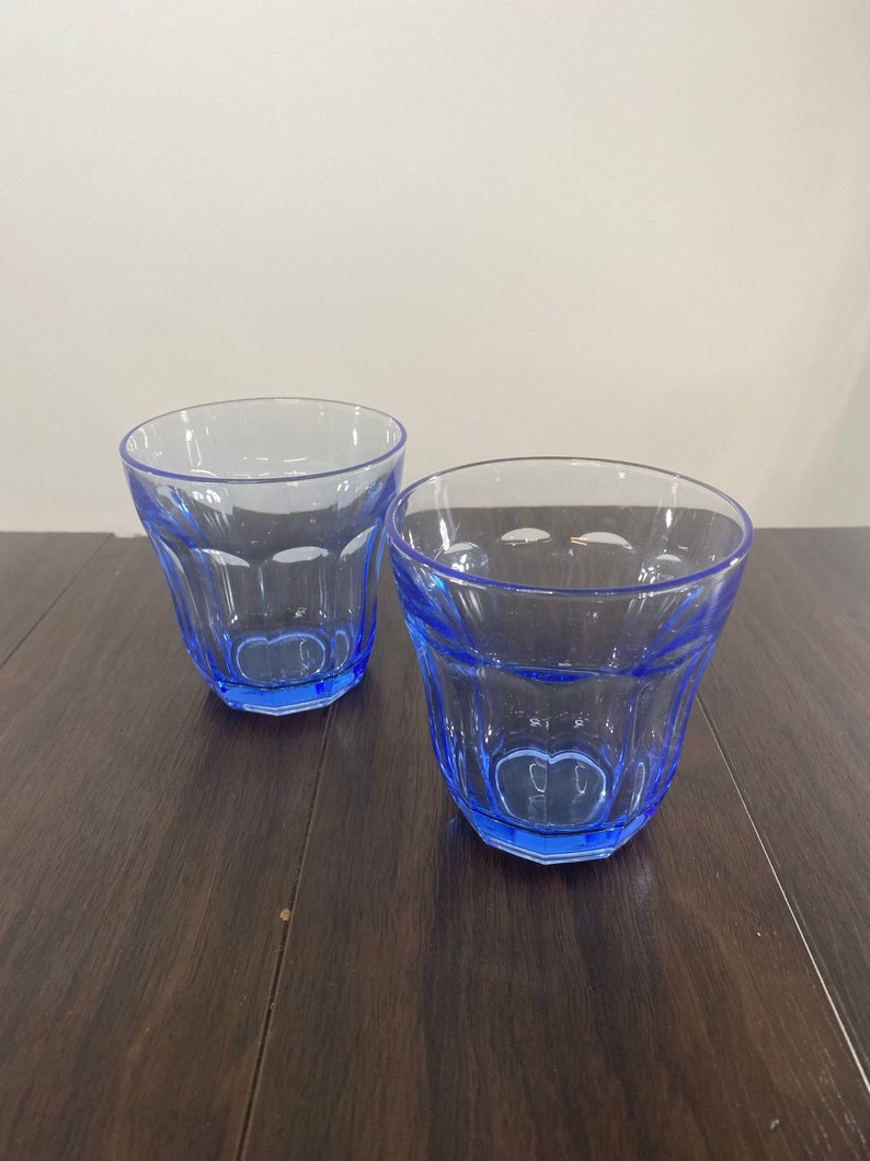 Made in Turkey Pasabahce Whiskey Glasses Double Old Fashioned Drinking Glasses 6 Piece Set of Vintage Blue Tint Glasses