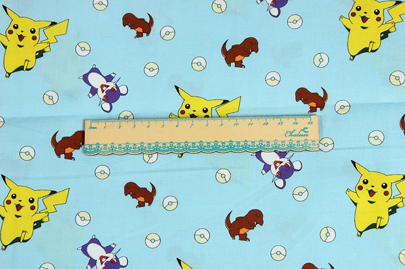 Pokemon Cartoon Printed Cotton Fabric DIY Fabric Masks Sewing Materials 100/% Cotton Fabric Pikachu Character Fabric by the Half Yard