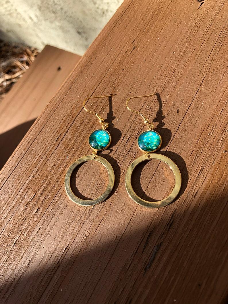 Gold Earrings Van Gogh Inspired Earrings Van Gogh Jewelry Gifts For Artists Floral Earrings Earrings For Artists Artisan Jewelry