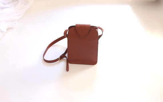 Vintage Loewe Brown Red Leather Shoulder Bag, Cros