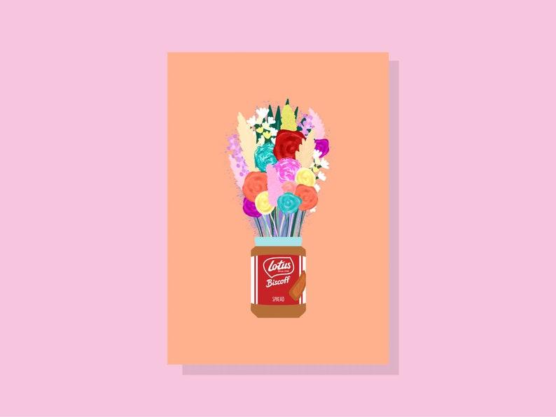 digital food art Lotus biscoff bottle vase with colourful bunch of flowers floral design illustration print