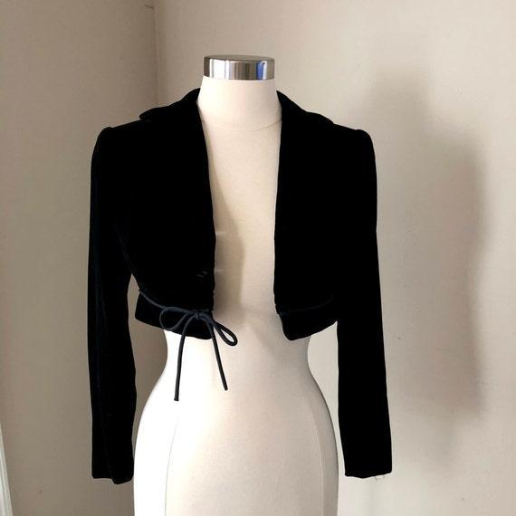 Size S Vintage 50s Black Velvet Bolero