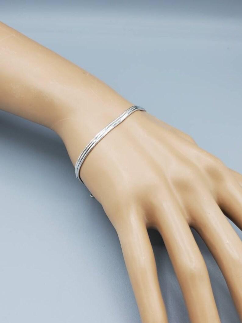 SILVER LAYERD BRACELET Chain Stackable adjustable sterling silver 925 bracelet Fashion jewelry Minimalist jewelry best friend gift