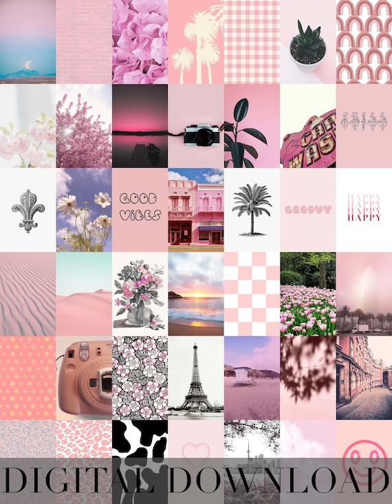 Peachy Pink Aesthetic Wall Collage Kit 42 Photos Etsy