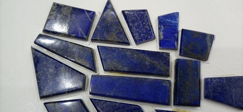 275 Grams Lapis Lazuli With Pyrite Polished 15 Pieces For Pendants