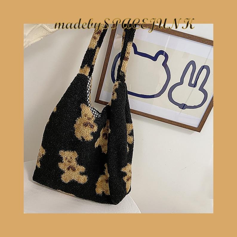Fluffy Teddy Bear Lamb Like Fabric Shoulder Tote Bag Canvas Fluffy Fur Bear Handbags Large Capacity Soft Shopping Bags