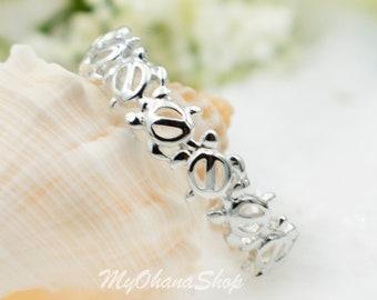 Silver Stacking Sea Turtle Ring. Hawaiian Honu, Ocean Turtle Band For Toering, Thumb Ring, Children Ring.  Beachy, Sea Life Mermaid Jewelry.