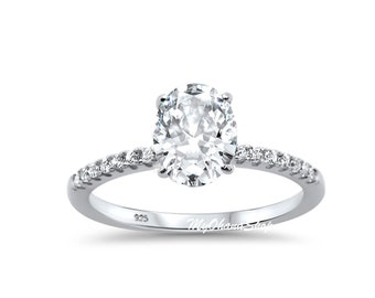 Sterling Silver CZ Engagement Ring For Women.  2 Ct. CZ Oval Round Solitaire Wedding Ring For Her. Anniversary Ring. Mother's Day Gift.