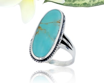 Vintage Sterling Silver Turquoise Flower Ring Size 9