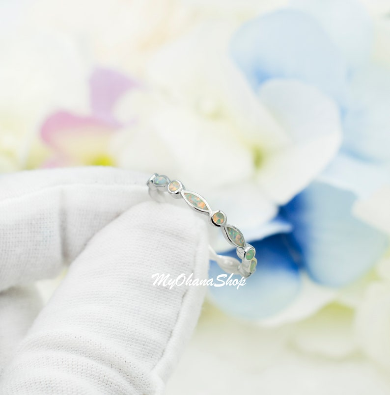 3mm Dainty Opal Bands Pinky Midi Ring Stack Index Mother/'s Day Ring Silver Stackable Opal Bands For Women Thumb Skinny Round Band