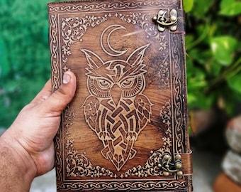 Antique Vintage Owl Embossed Cresent Celtic Moon Leather Bound Journal, Embossed Leather Journal Notebook & Sketchbook Women Day Gift