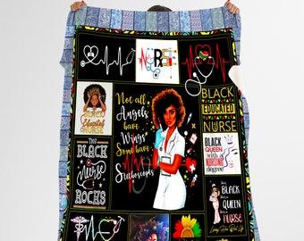 Afro Nurse Bedding Quilt Black Girl Nurse Hero Quilt Nursing Quilt Blanket Nurse Black Nurse Quilt Blanket july17 Personalized Blanket-Nurse Quilt