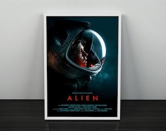Alien Movie Poster | Alien Print | Movie Gifts | Sigourney Weaver | Aliens Movie Poster | Alien Xenomorph | Sci-Fi Science Fiction