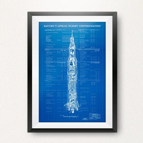 Saturn V Apollo Flight Configuration Blueprint Fine Art Print Photo Wall Poster