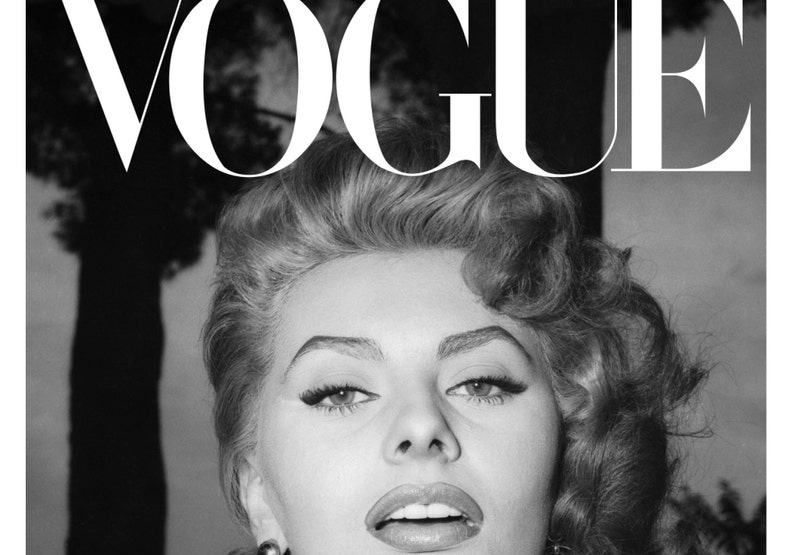 Graphic Hand Made Digital Art Print Wall Decor. Vintage Style 1950/'s Sophia Loren Vogue Cover Fashion