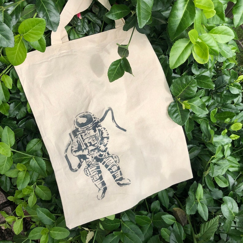 Tote bag astronaut hand painted