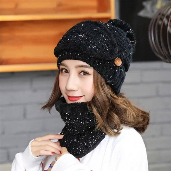 3 in 1 Winter Fall Adult Face Mask Hat Knit Beanie with Neck Warmer Christmas Double Layer