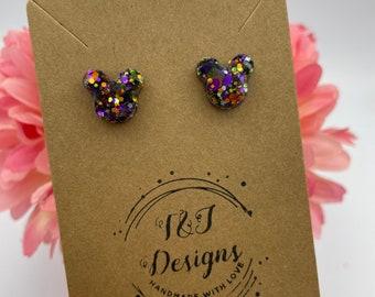 Glitter Mickey Stud Earrings (Multiple Color Options)