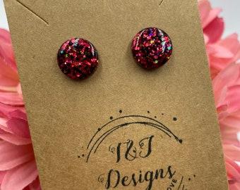 Glitter Round Stud Earrings (Multiple Color Options)
