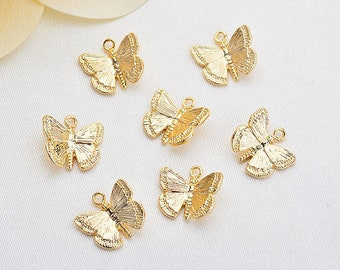 10Pcs Gold Plated Butterfly Pendant Charm, Butterfly Charm, Layered Necklace Charm, DIY Earring Jewelry Making Supplies, Pendant Wholesale