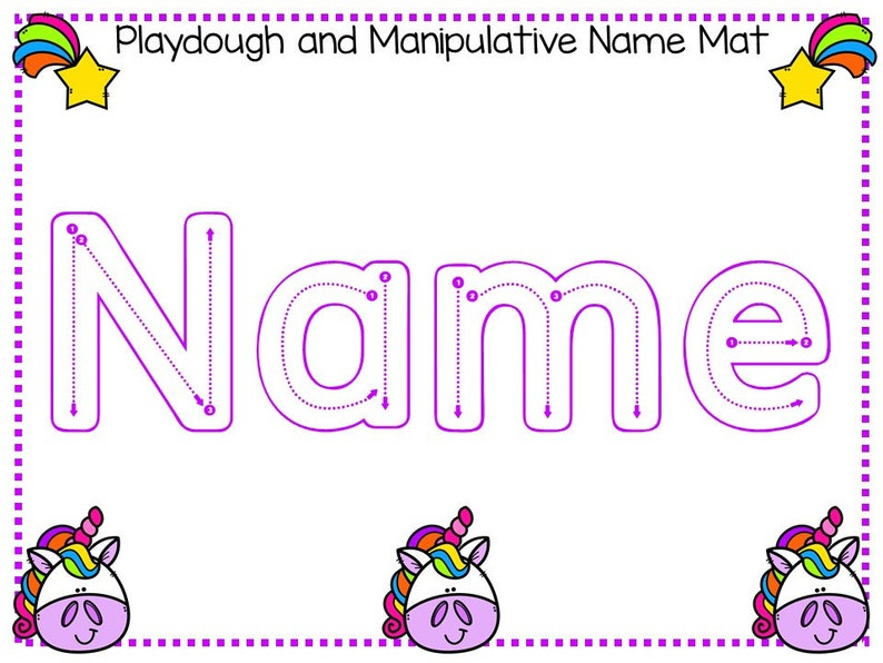 20 CUSTOM Unicorn Themed First Name No Prep Non-Editable SINGLE Name Tracing Worksheets and Activities PDF file emailed after purchase.