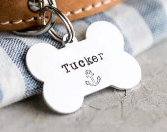 Dog Bone Pet ID Tag (Nautical Collection) • Hand Stamped Pet Tags • Puppy Tag • Personalized Dog Tag • Unique Pet Tags