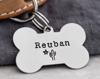 Dog Bone Pet ID Tag (Midnight Collection) • Hand Stamped Pet Tags • Puppy Tag • Personalized Dog Tag • Unique Pet Tags