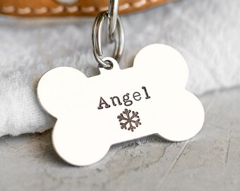 Dog Bone Pet ID Tag (Sky Collection) • Hand Stamped Pet Tags • Puppy Tag • Personalized Dog Tag • Unique Pet Tags
