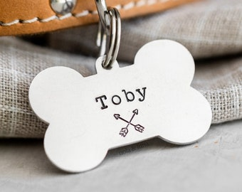 Dog Bone Pet ID Tag (Trail Collection) • Hand Stamped Pet Tags • Puppy Tag • Personalized Dog Tag • Unique Pet Tags
