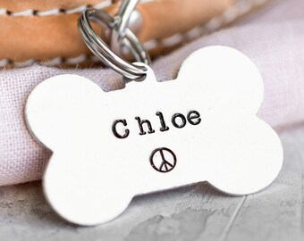 Dog Bone Pet ID Tag (Boho Collection) • Hand Stamped Pet Tags • Puppy Tag • Personalized Dog Tag • Unique Pet Tags