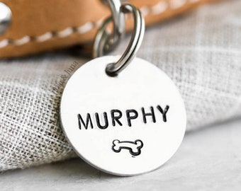 Pet ID Tag (Modern Collection) • Hand Stamped • Funny Dog Tag •  Puppy Tag • Personalized Dog Tag