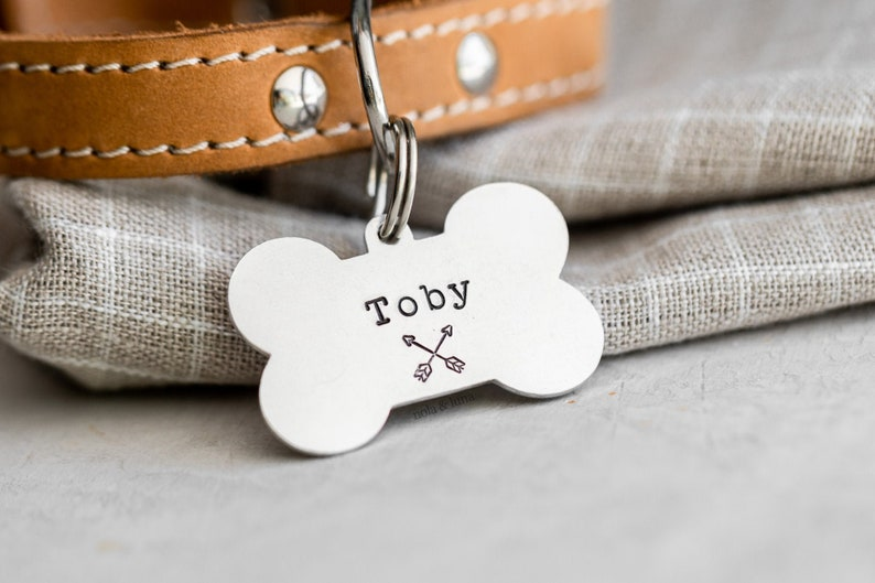 Dog Bone Pet ID Tag Trail Collection  Hand Stamped Pet Tags Cross Arrows