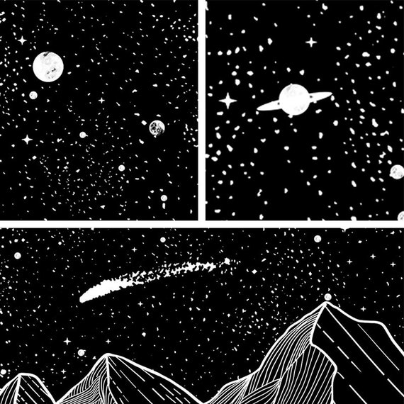Mountain Moon Star Black White Art Tapestry Hippie Wall Hanging Mural Home Decor