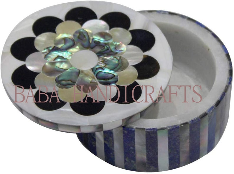 3x3x2 White Marble Round Jewelry Box Lapis Turquoise Marquetry Floral Inlay Handmade Gifts