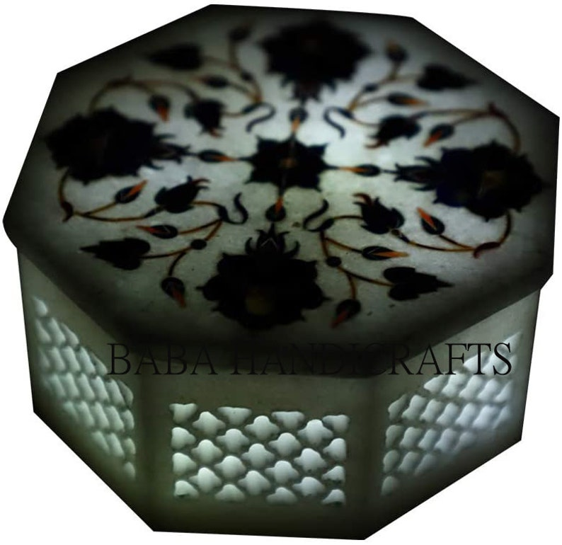 beautiful inlay work Pietra Dura Box Lattice Pietra Dura Art Octagonal White Marble Jewelry Box 4/'/'x4/'/' White