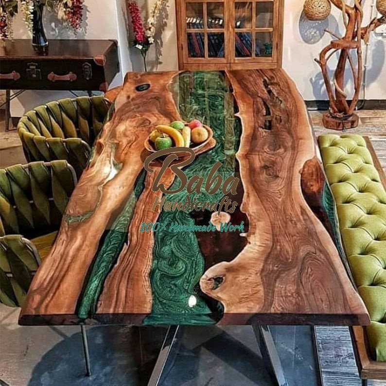 Epoxy Resin River Dining Table with Natural Wood