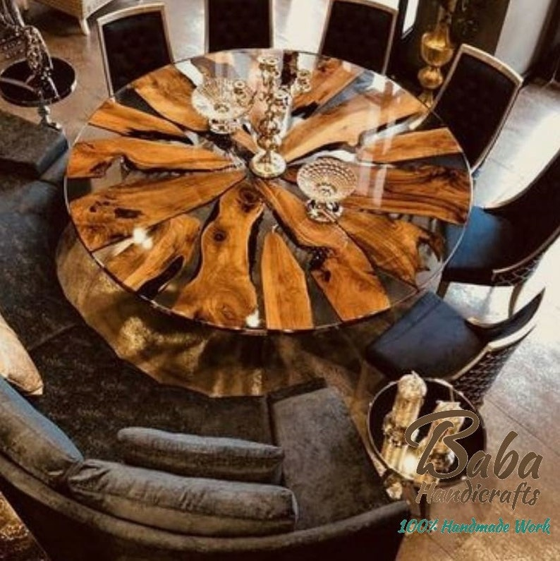 Epoxy Center Table Top, made of Natural Wood