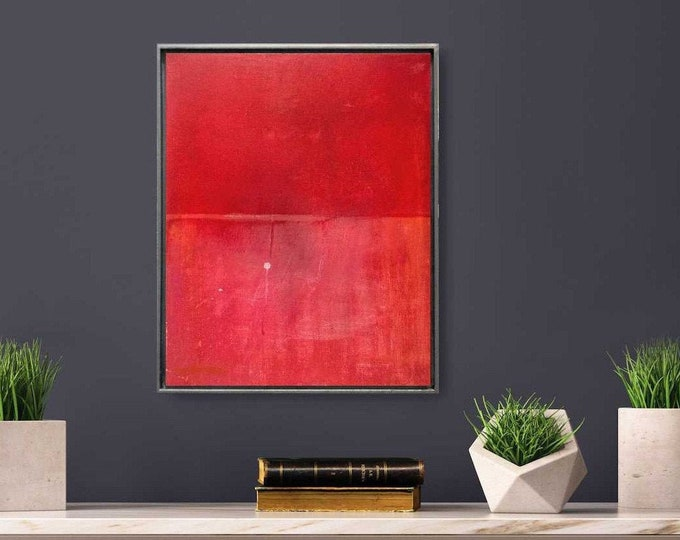 "Original Abstract Painting, 21 x 17 Wall Art ""153 Days"" Acrylic Red Painting on Canvas in Gold Wood Floater Frame. Minimalist Small Canvas"