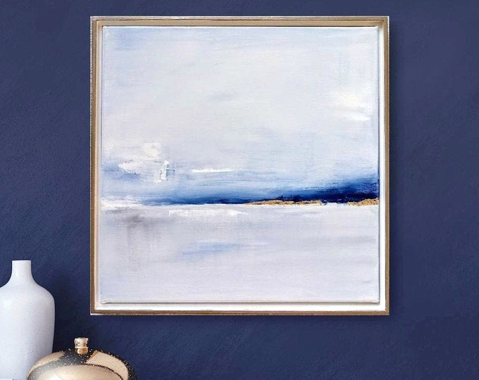 "Original Abstract Seascape Painting 17 x 17 ""New Dawn"" Acrylic Beach Painting, Ocean Canvas Painting with Gold Leaf Framed in Floater Frame"