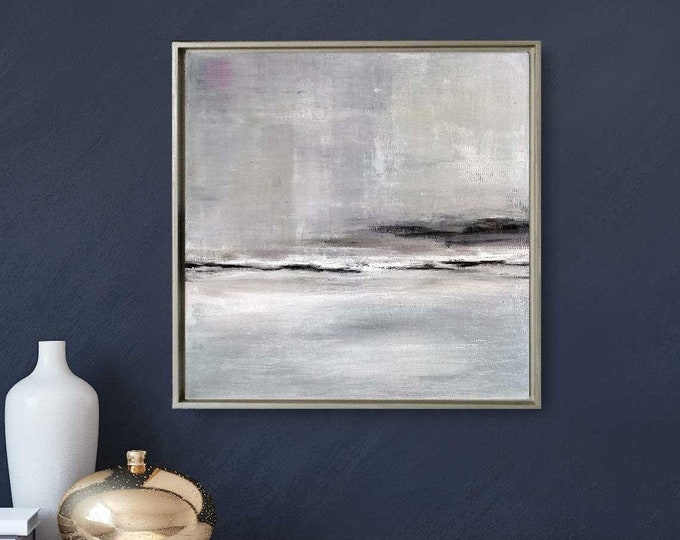 """Original Abstract Seascape Painting""""Shallows"""" 15 x 15 Gray Acrylic Ocean Painting on Canvas, Wood Floater Frame, Abstract Landscape Painting"""