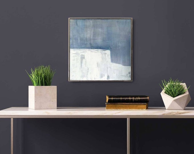 """Original Abstract Landscape Painting """" Dover """" , 15""""x 15"""" Acrylic Minimalist Modern Seascape Painting on Canvas Framed in Gold Floater Frame"""