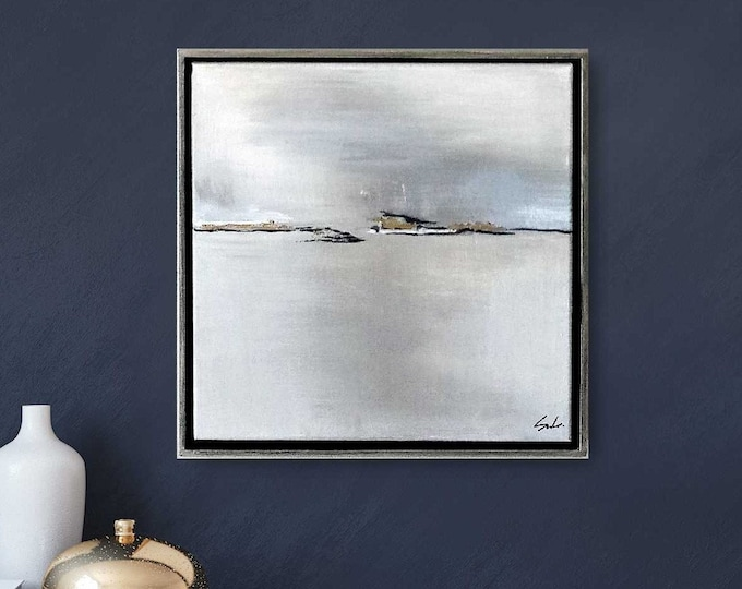 """Original Abstract Landscape Painting"""" Patagonia """" 15 x 15 Acrylic Painting on Canvas with Gold Leaf Accent in Gold Wood Floater Frame"""
