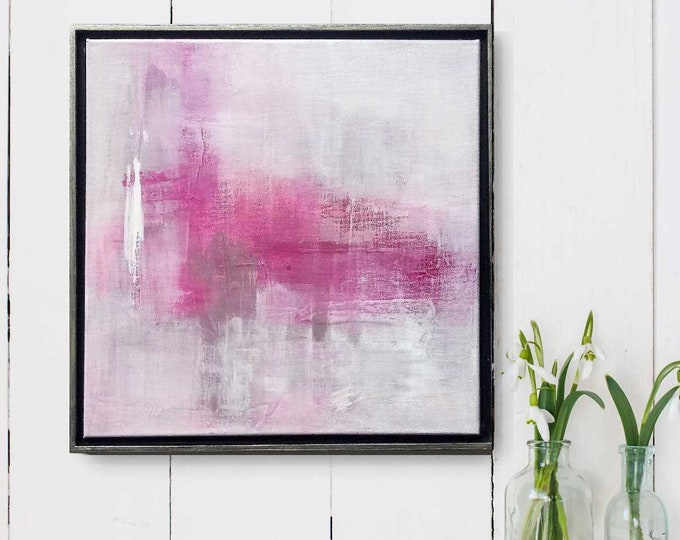 """Original Abstract Painting """" 87 Haze """", 15 x 15 Acrylic Wall Art on Canvas Framed in Floater Frame, Pink Original Painting, Small Canvas Art"""