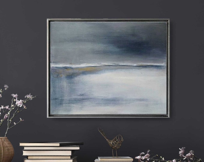 "Original Abstract Seascape Painting "" November "" 21 x 17 Acrylic Landscape Painting on Canvas Framed in Gold /Black Floater Frame."