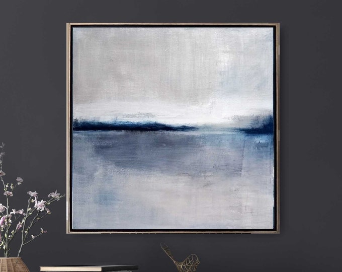 """Original Abstract Seascape Painting """" Storm Clouds """" 21 x 21 Acrylic Ocean Painting on Canvas, Gray and Blue Painting. Wood Floater Frame."""