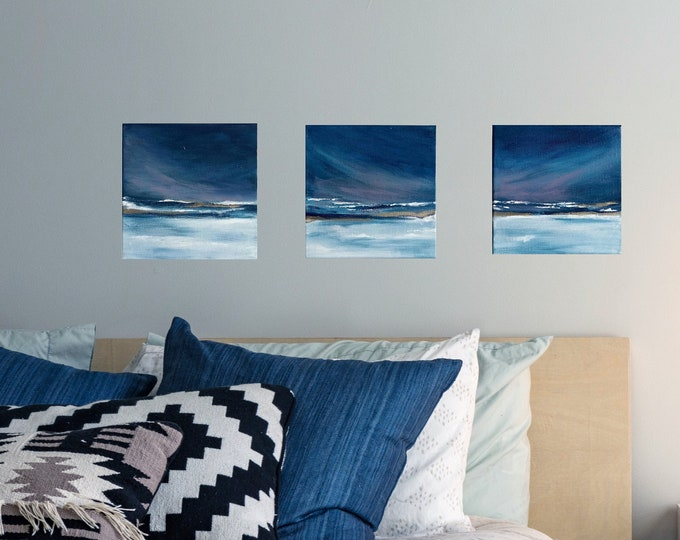 """Mini Set of 3 Original Abstract Seascape Painting, """" Nightfall I, II & III """"  6 x 6  Canvas Set, Ocean Painting, Beach Paintings Gold Accent"""