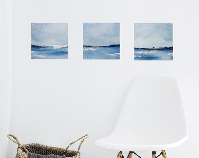 """Mini Set of 3 Original Abstract Seascape Painting, """" Tranquil I, II & III """"  6 x 6  Canvas Set, Ocean Painting, Beach Paintings Gold Accent"""