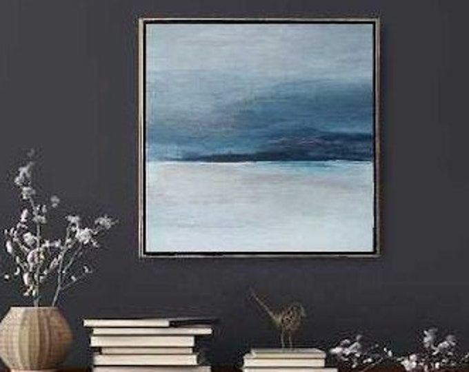 """Original Abstract Seascape Painting """" Friday Morning """"  21 x 21 Acrylic Ocean Painting on Canvas in Gold Wood Floater Frame. Gray and Blue"""